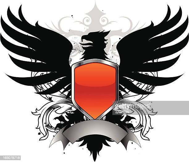 griffin crest iiii - griffin stock illustrations, clip art, cartoons, & icons