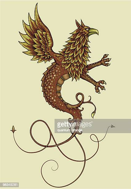 griffin dragon - griffin stock illustrations, clip art, cartoons, & icons