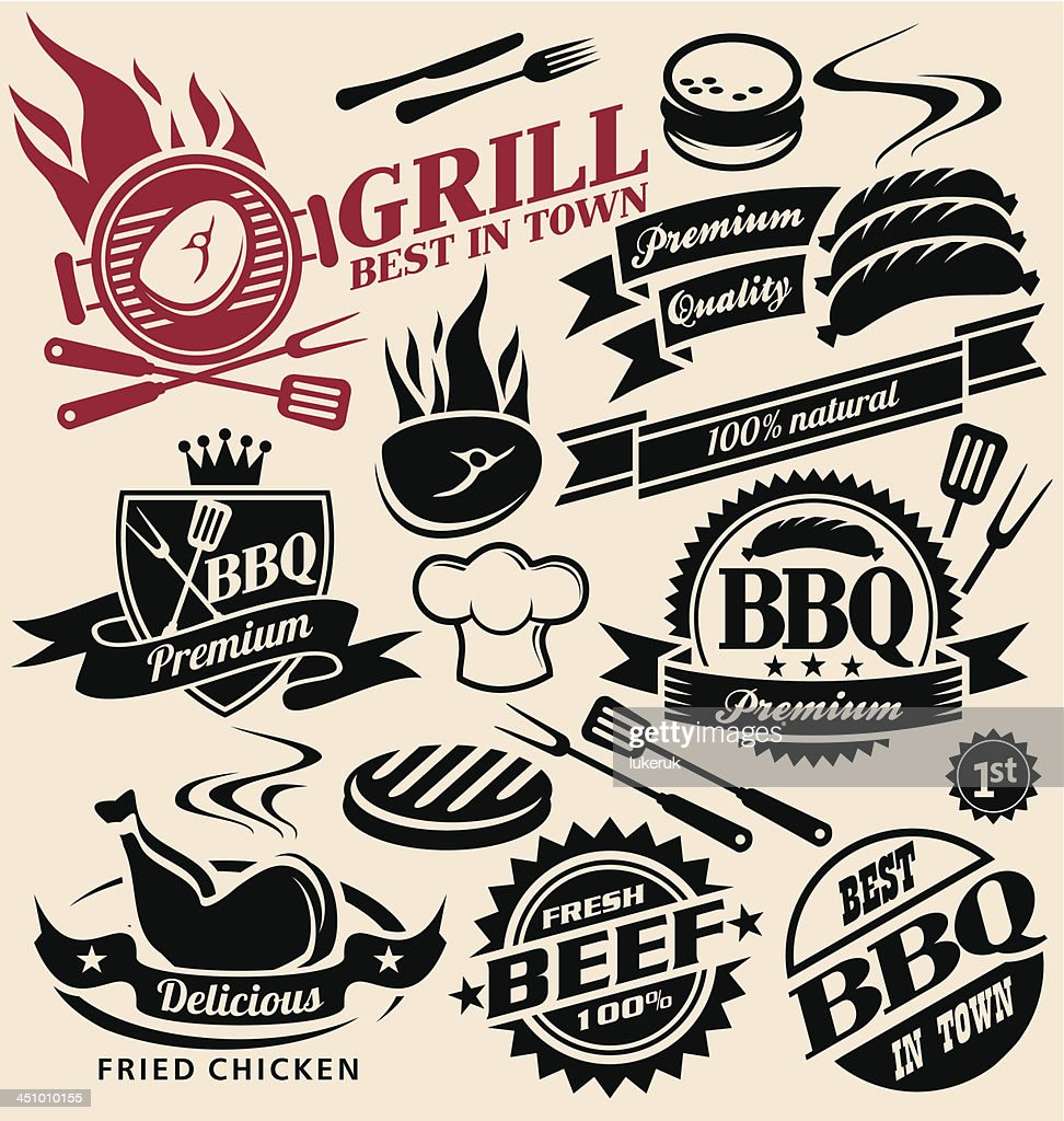 Grill and barbecue collection of vector signs, labels, icons, symbols