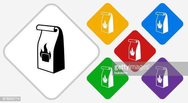 illustrations, cliparts, dessins animés et icônes de grill à charbon de bois sac couleur diamant vector icon - sac