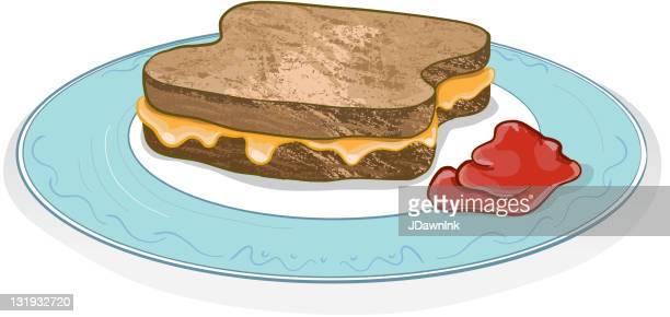 grill cheese sandwich on a plate with ketchup - toasted sandwich stock illustrations, clip art, cartoons, & icons