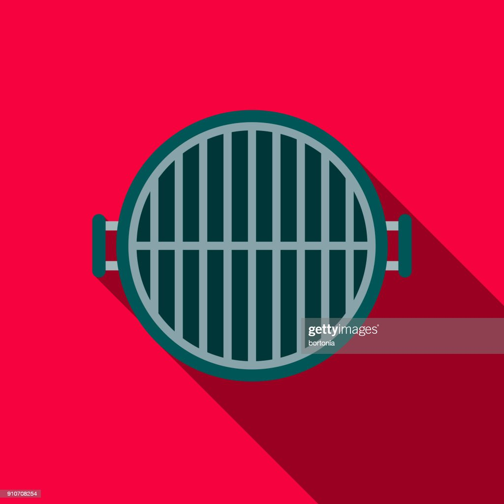 Grill Flat Design BBQ Icon with Side Shadow