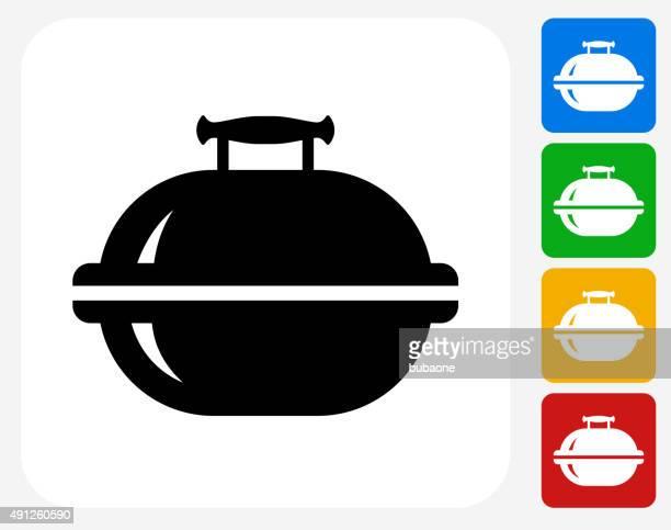ilustraciones, imágenes clip art, dibujos animados e iconos de stock de grill iconos planos de diseño gráfico - al vapor