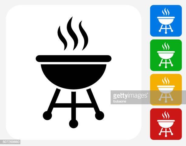 grill icon flat graphic design - steam stock illustrations