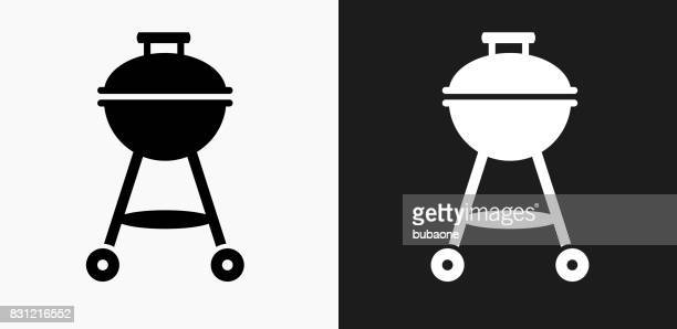 Grill Icon on Black and White Vector Backgrounds