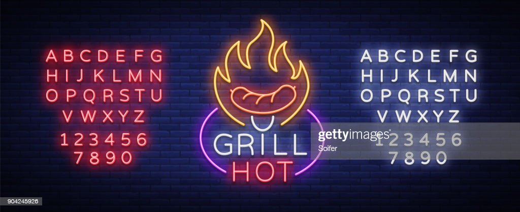 Grill  in a neon style. Vector illustration on the theme of food, meat of the same. Neon sign, bright symbol, Grill bar, restaurant, snack bar, dining room. BBQ party. Editing text neon sign