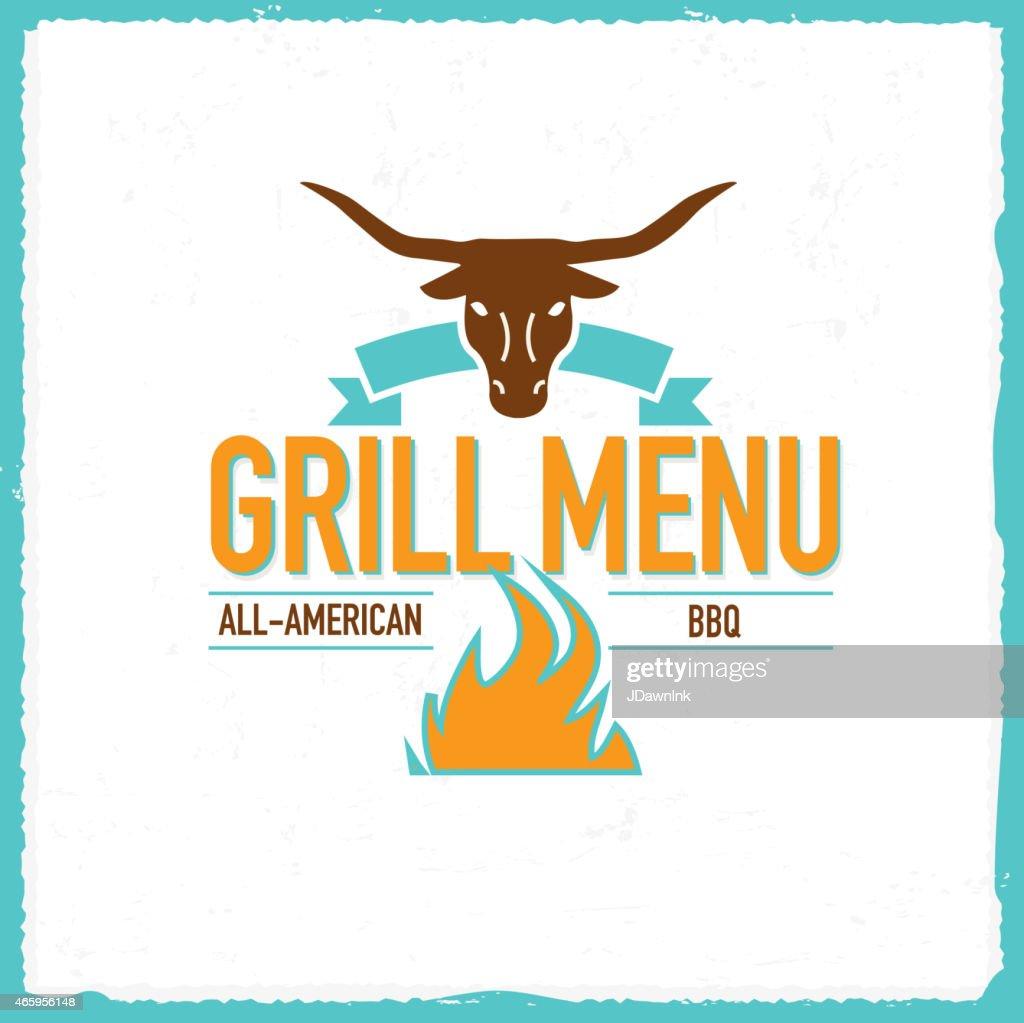 Grill Menu design template longhorn bull