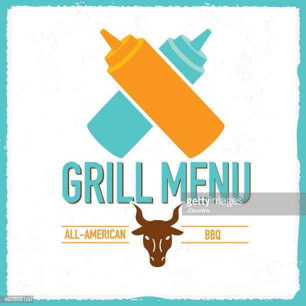 grill menu design template squeeze bottles bull head - ketchup stock illustrations, clip art, cartoons, & icons