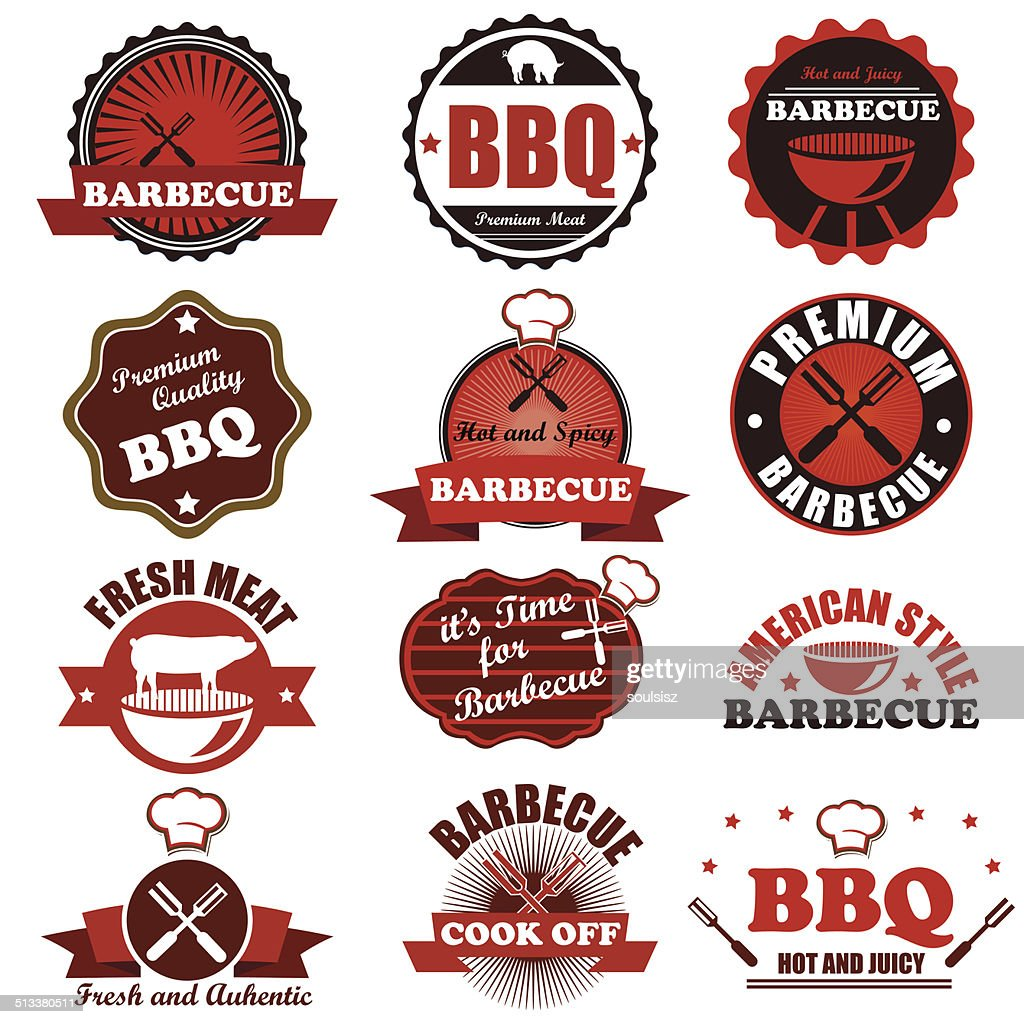 BBQ grill vector badge labels collection. Vector Illustration ep
