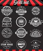 Grill vintage design elements and badges set on chalkboard