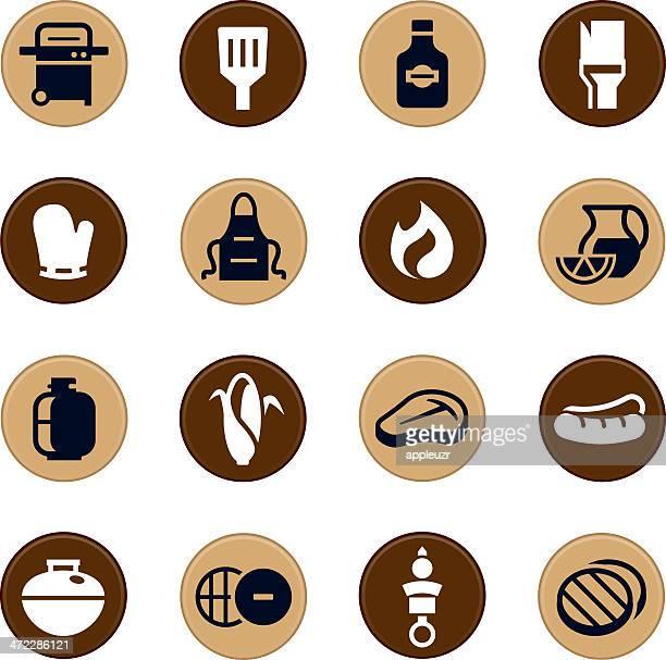 illustrations, cliparts, dessins animés et icônes de barbecue grill/icônes - aliment grillé au charbon de bois