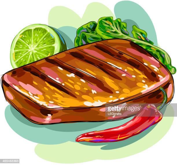 野菜のグリル - ローストビーフ点のイラスト素材/クリップアート素材/マンガ素材/アイコン素材