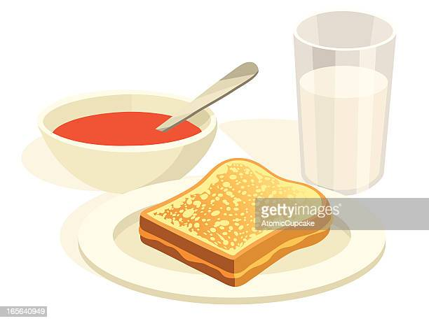 grilled cheese and tomato soup lunch - toasted sandwich stock illustrations, clip art, cartoons, & icons