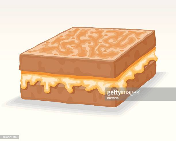 grilled cheese - cheddar cheese stock illustrations, clip art, cartoons, & icons