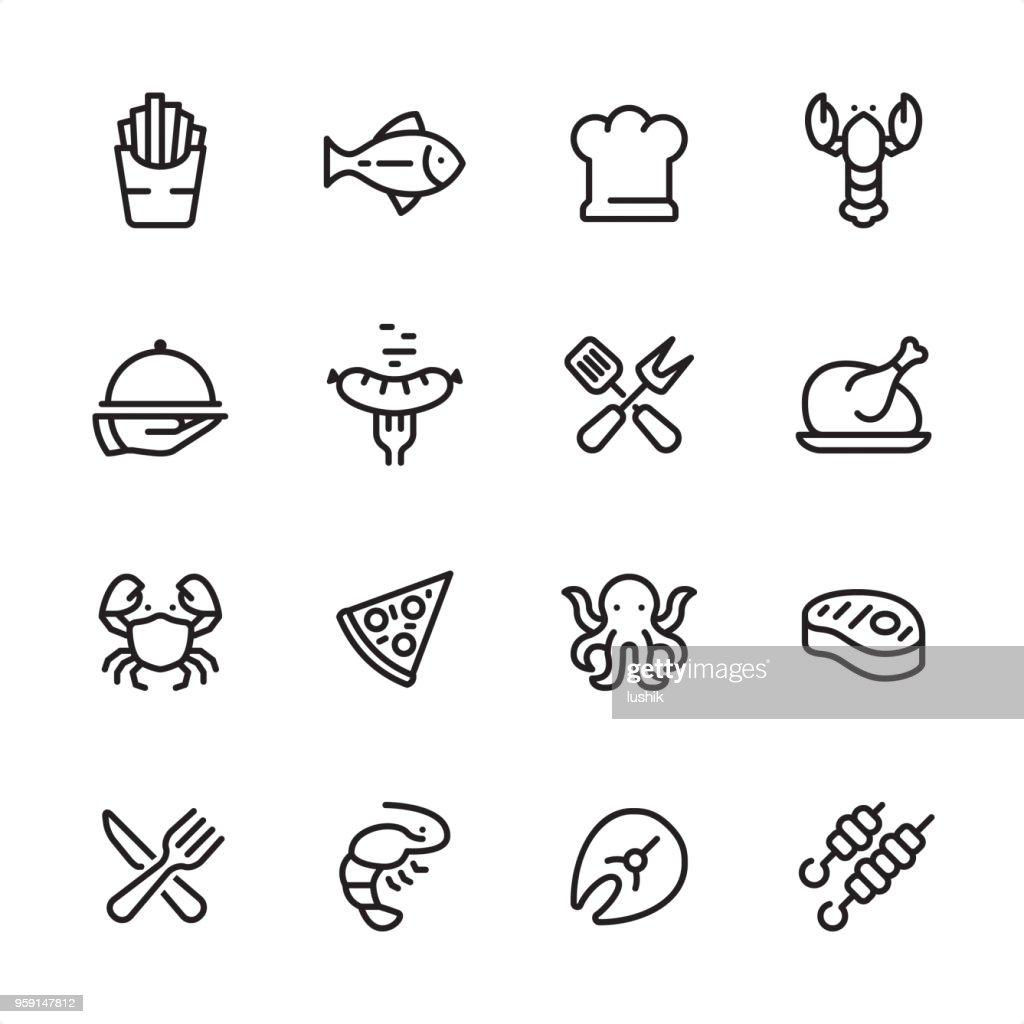 グリル料理、シーフードなど - アウトラインのアイコンを設定 : ストックイラストレーション