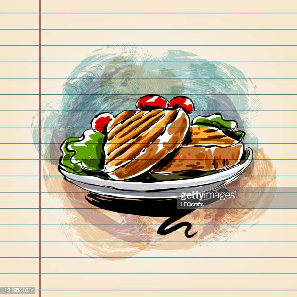 grilled meat drawing on ruled paper - food and drink stock illustrations
