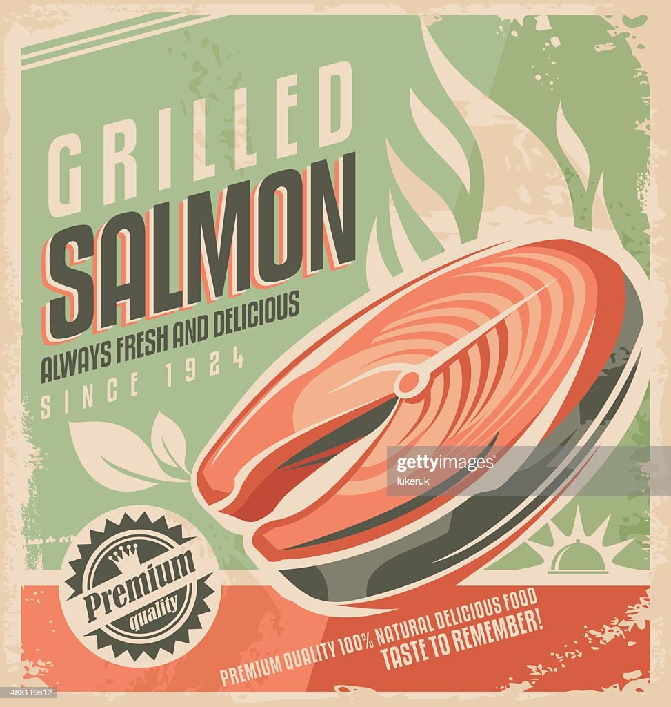 Grilled salmon retro poster design