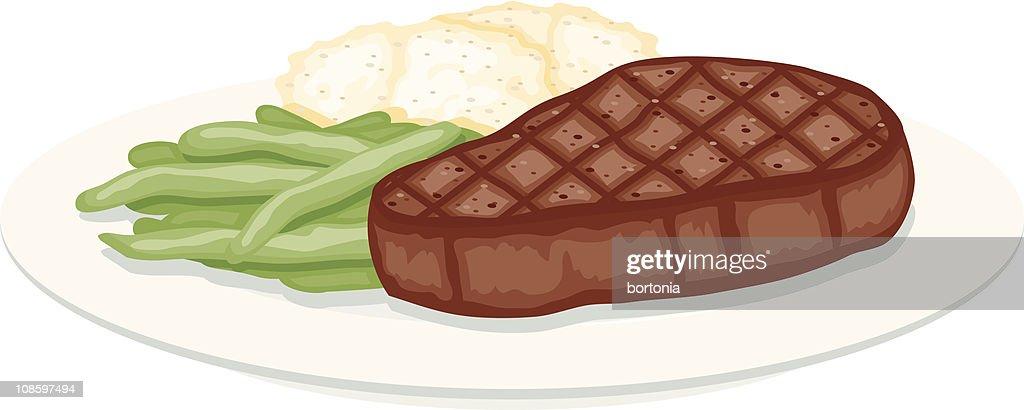 Bistec a la parrilla, frijoles verdes y puré de papas : Ilustración de stock