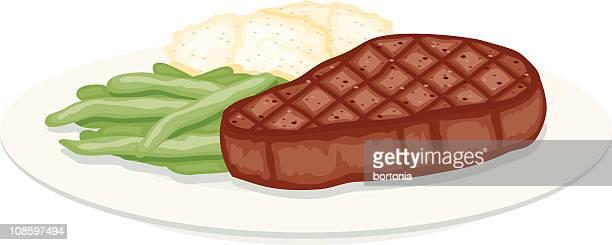 ilustraciones, imágenes clip art, dibujos animados e iconos de stock de bistec a la parrilla, frijoles verdes y puré de papas - patatas preparadas