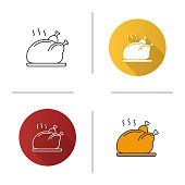 Grilled whole chicken icon