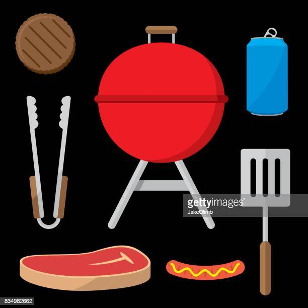 grilling items flat set - carbonated stock illustrations, clip art, cartoons, & icons
