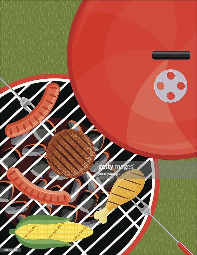 Grilling on the BBQ : stock illustration