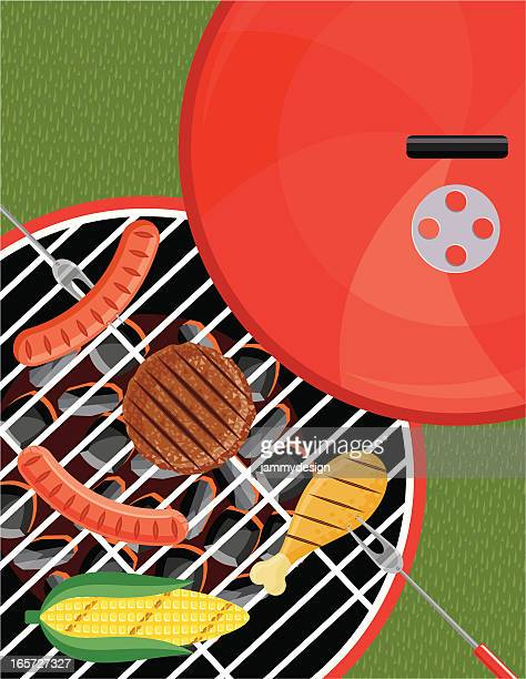 grilling on the bbq - corn stock illustrations, clip art, cartoons, & icons