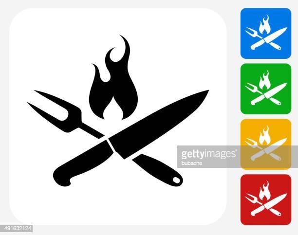 ilustraciones, imágenes clip art, dibujos animados e iconos de stock de asar utensilios de iconos planos de diseño gráfico - chef