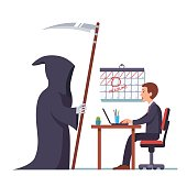 Grim reaper came to frightened businessman working