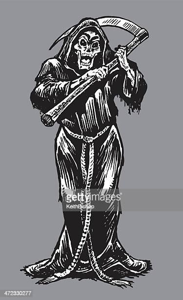 ilustraciones, imágenes clip art, dibujos animados e iconos de stock de la muerte-muerte, esqueleto con aspas - la muerte