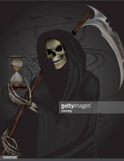 grim reaper holding hour glass - terminal illness stock illustrations, clip art, cartoons, & icons