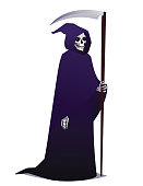 Grim Reaper holding Scythe. Death character in dark robe with hood going for Costume party. Vector.