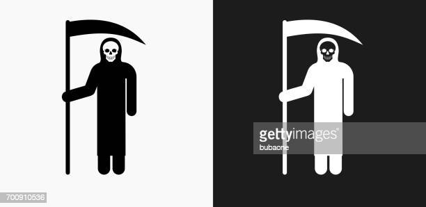 Grim Reaper Holding Scythe Icon on Black and White Vector Backgrounds
