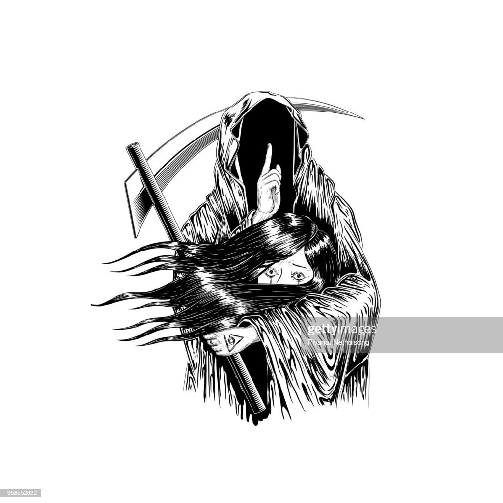 Grim Reaper, Human Skull Wearing A Hood, Isolated On color Background, Vector illustration. woman hold with the ghost. to die. tattoo design. hand drawing and digital. line art design.