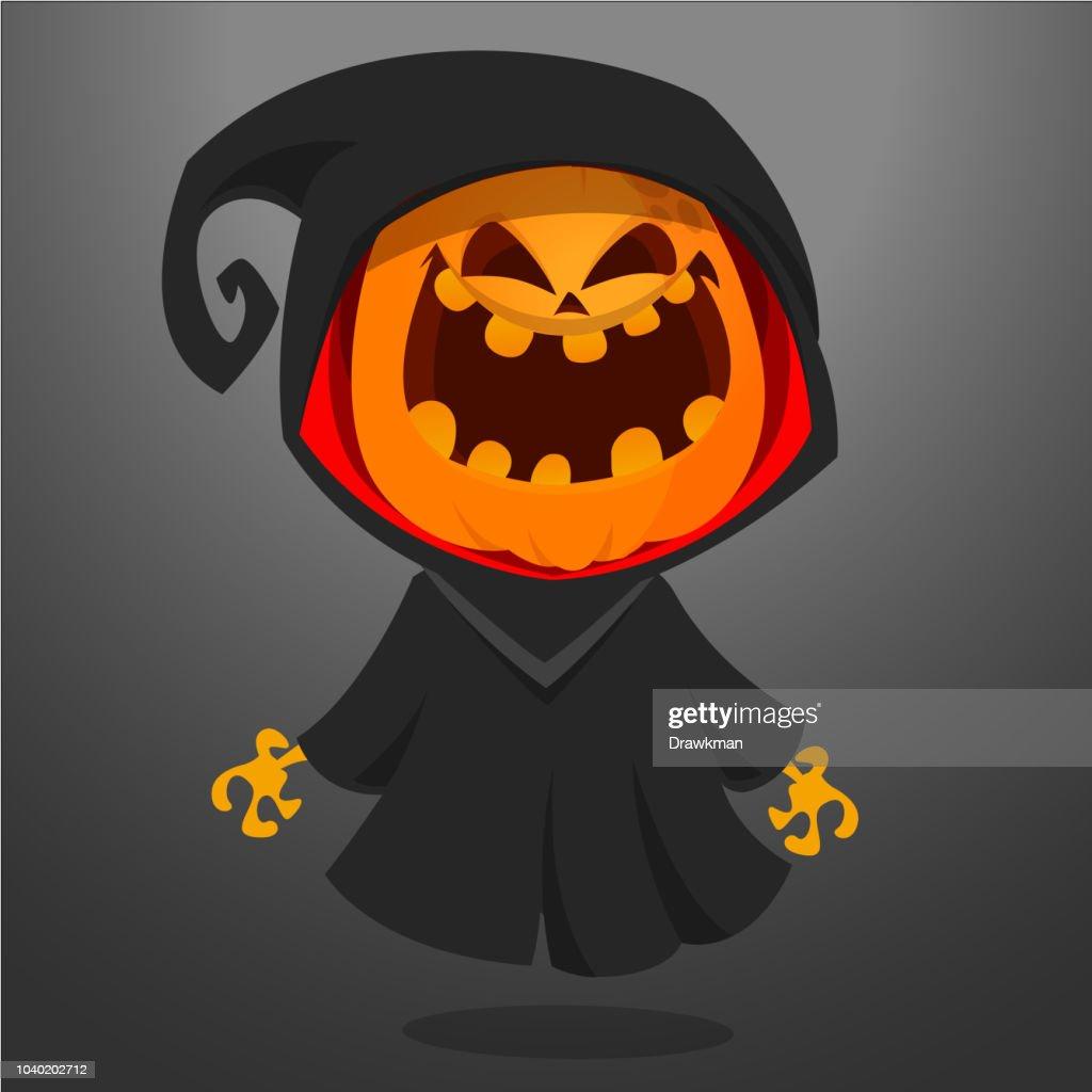 Grim reaper pumpkin cartoon