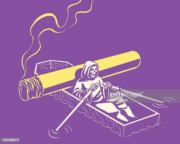 grim reaper rowing a casket boat - death stock illustrations