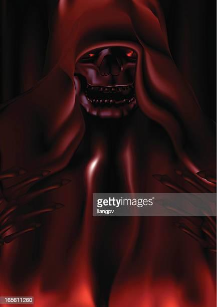 ilustraciones, imágenes clip art, dibujos animados e iconos de stock de la muerte del diablo - la muerte