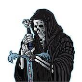 grim reaper with sword .