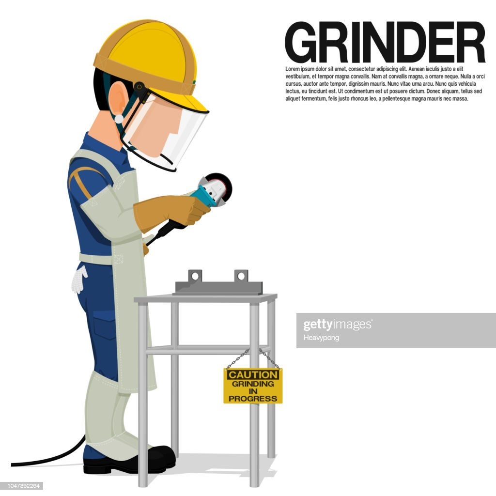 A grinder is working in his workplace