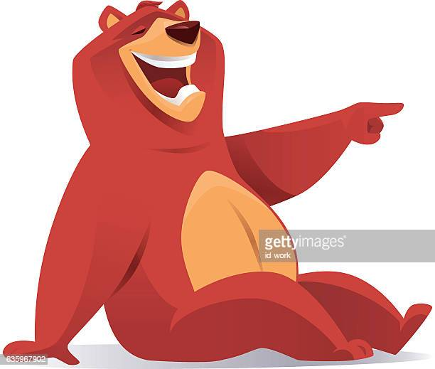 grizzly bear laughing and pointing - lachen stock-grafiken, -clipart, -cartoons und -symbole