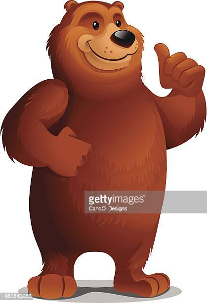 grizzly bear: thumbs up - bear stock illustrations