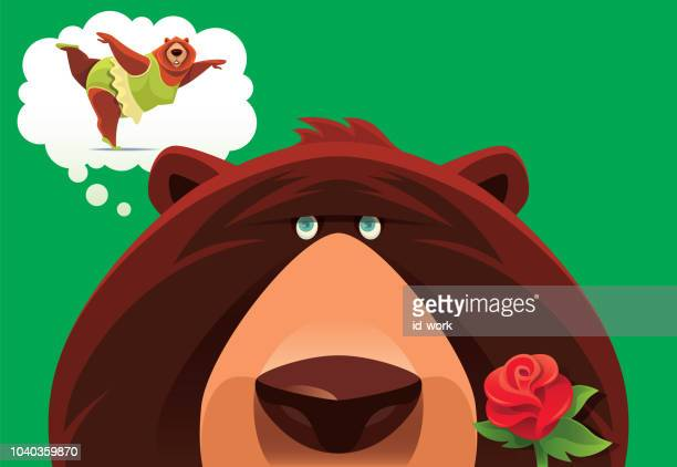 grizzly thinking of bear ballerina - body conscious stock illustrations, clip art, cartoons, & icons