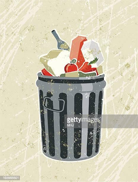 lebensmittel und küche in einer müllbehälter - müll stock-grafiken, -clipart, -cartoons und -symbole