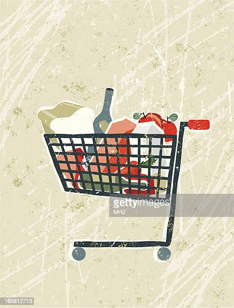 Groceries and Food in a Shopping Trolley