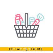 Groceries Icon. Easy editable stroke line vector.