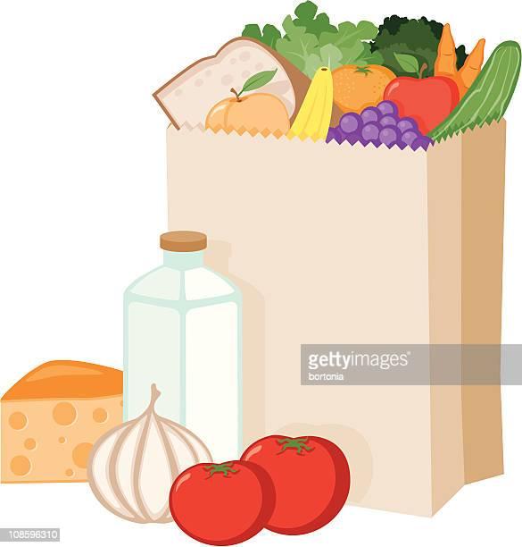 illustrazioni stock, clip art, cartoni animati e icone di tendenza di generi alimentari in una busta di carta - carta da pacchi