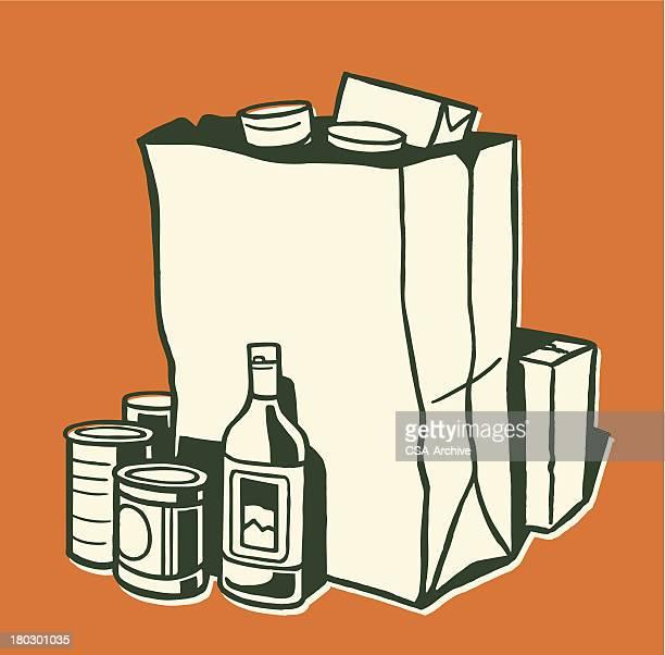 食料品 - 布の袋点のイラスト素材/クリップアート素材/マンガ素材/アイコン素材