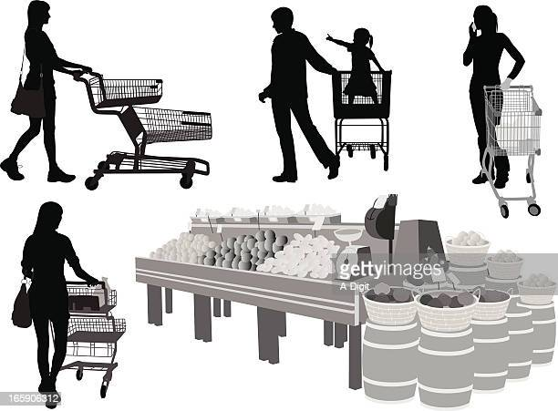 Grocery Carts Vector Silhouette