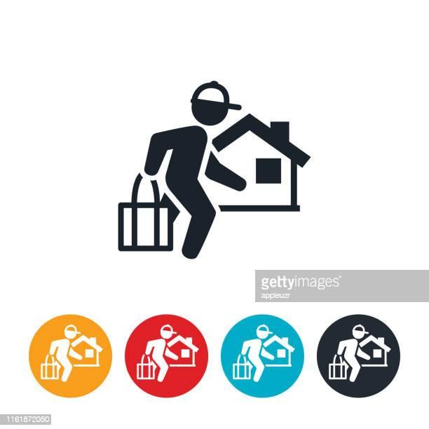 ilustrações, clipart, desenhos animados e ícones de ícone do serviço da entrega do mantimento - entregador