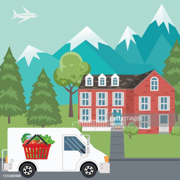 grocery delivery to a house - senior citizen clipart stock illustrations